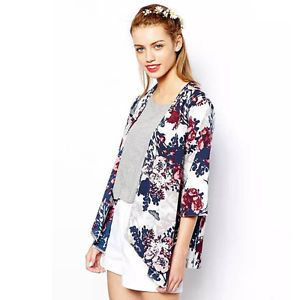 Details zu hot mode damen blumen bedruckt strickjacke - Kimono jacke damen ...