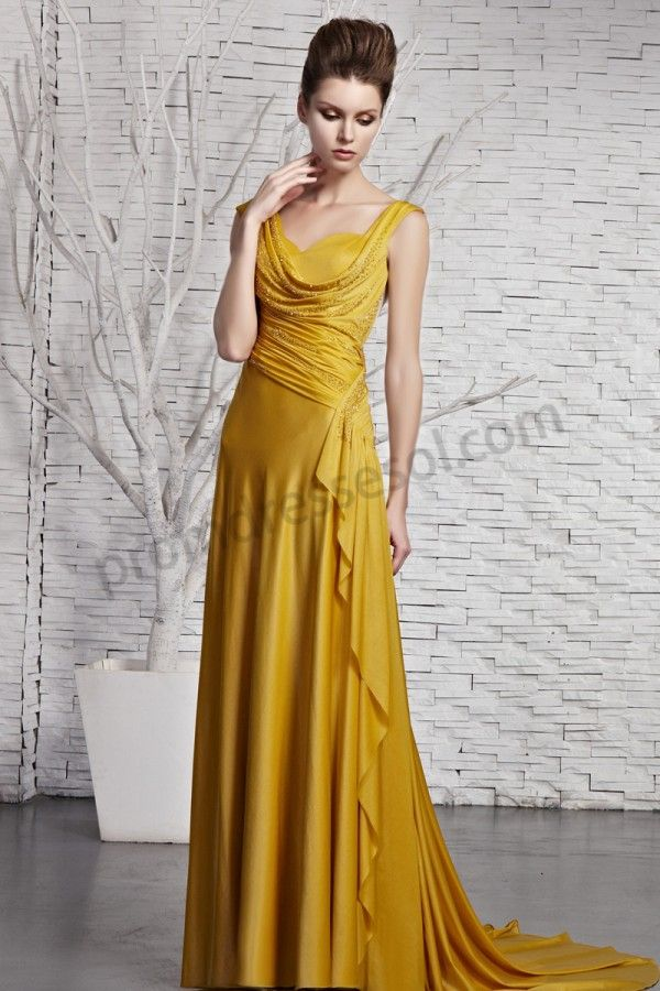 Yellow Sweetheart Sleeveless Silk A-Line Train Evening dress BY383 ...