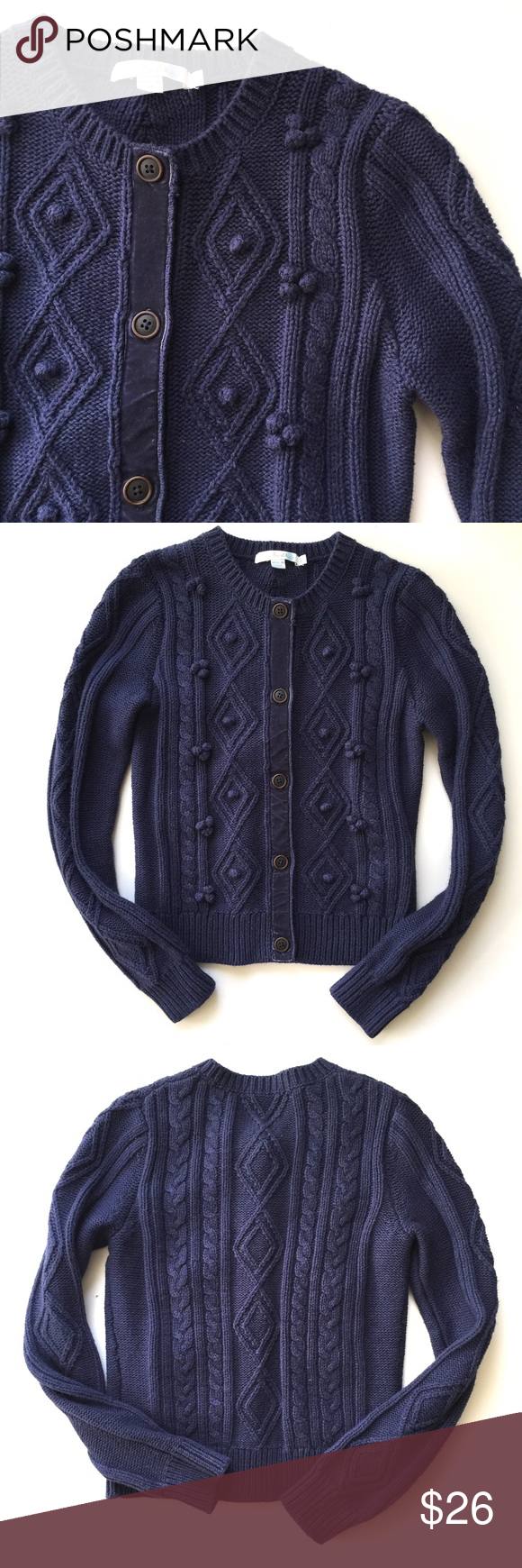 Boden Navy Classic Cozy Cable Knit Cardigan // 4 | Dark, Sweater ...