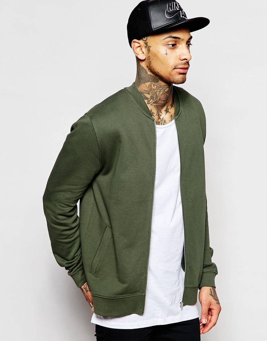 Image 1 of ASOS Jersey Bomber Jacket In Khaki