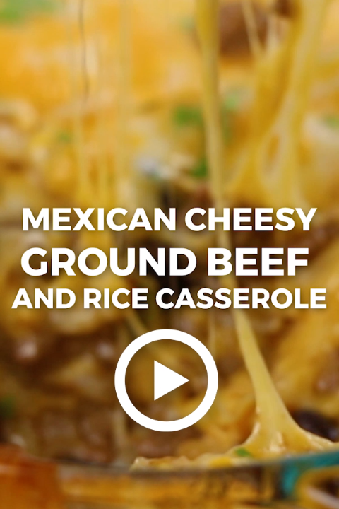 Mexican Cheesy Ground Beef and Rice Casserole by Oh Sweet Basil. This easy meaty recipe is best to have when you need comfort food.  Pin made by GetSnackable.com #Mexican #Beef #beefandrice