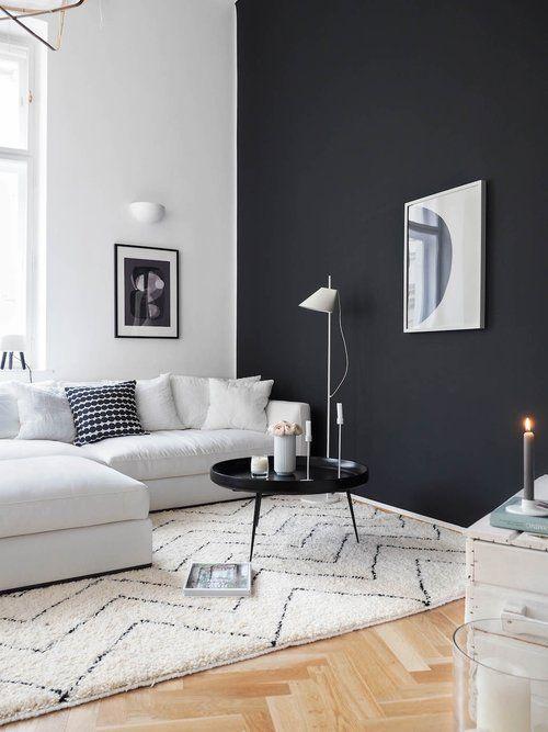 Salon Minimaliste Scandinave Blanc Noir Marron Bois Parquet