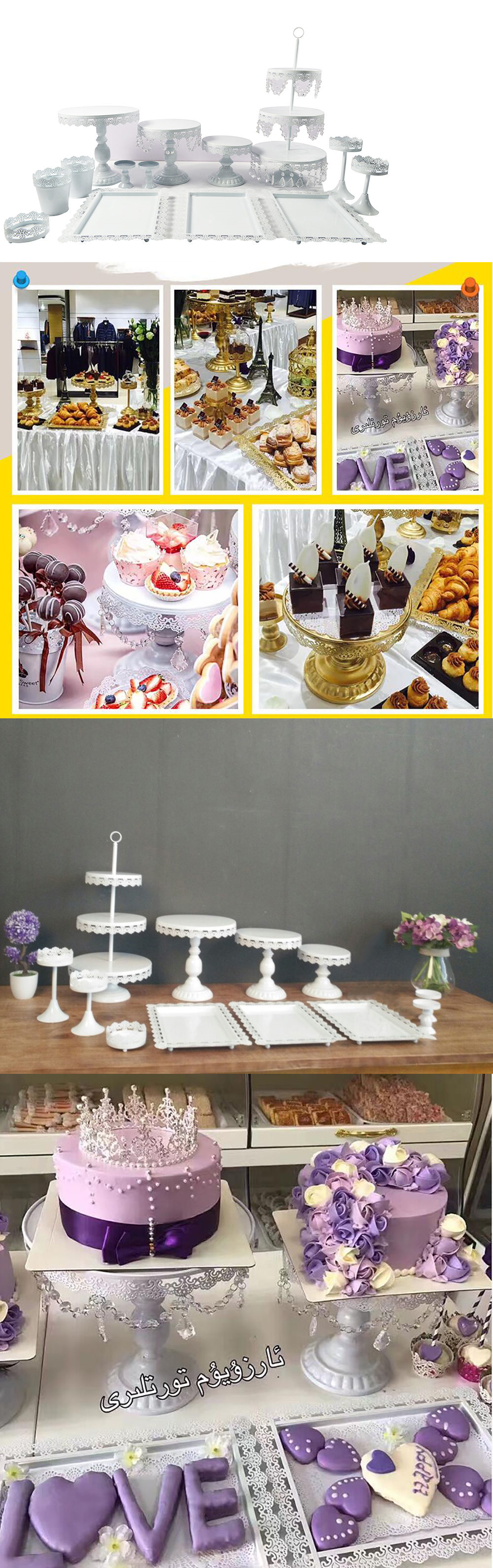 Wedding cake stands and plates cakes display crystal pcs