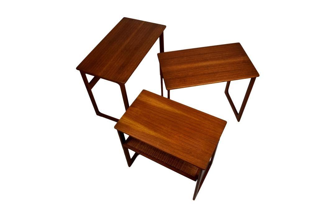 Mid Century Nesting Tables By Johannes Andersen U0026 Illum Wikkelsø Model 219,  Teak