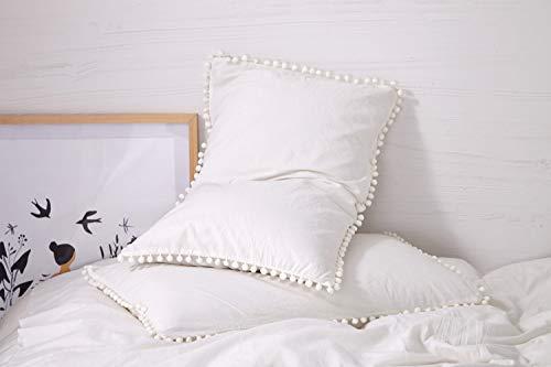 Amazon Com 2 Pack Pom Pom Fringe Pillow Shams White Pom Fringe Duvet Cover White Cotton Throw Pillowcases Throw Pillows Bed White Duvet Covers Fringe Pillows