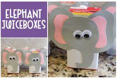 Elephant Juice Boxes for Elephant Theme Birthday Party from pigskinsandpigtails.com