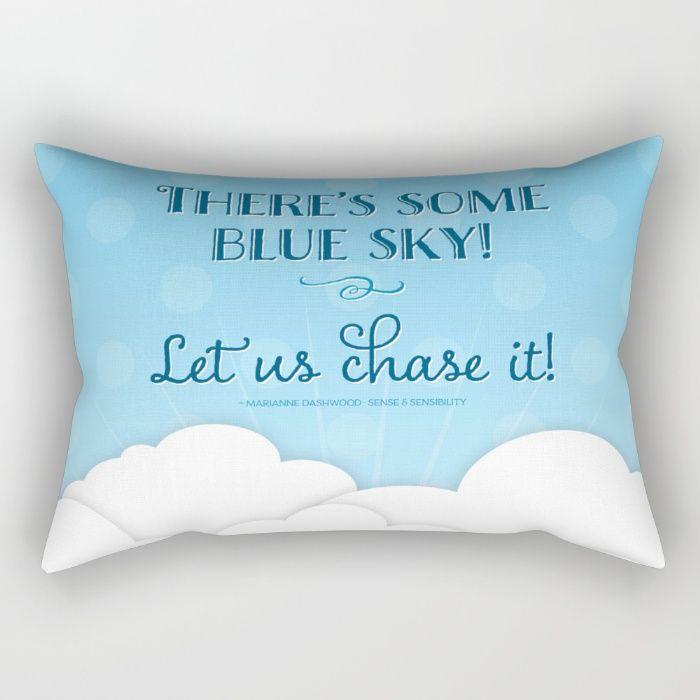 Jane Austen Sense & Sensibility Blue Sky Print Rectangular Pillow