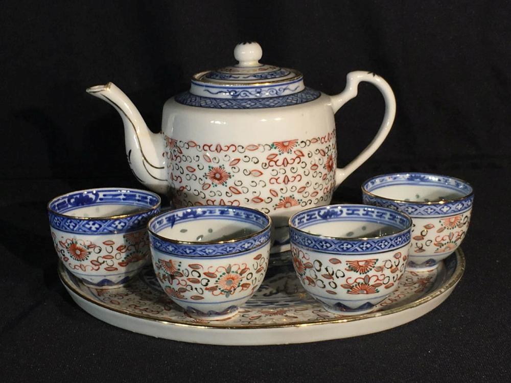 Grain of Rice Blue Chinese Porcelain Teapot Ø 11cm//H14cm//approx 600ml