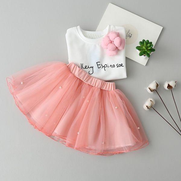 06f5675347 Conjunto Fashio Meninas - Camisa Branca e Saia Tule Rosa com Strass 2-6  Anos.