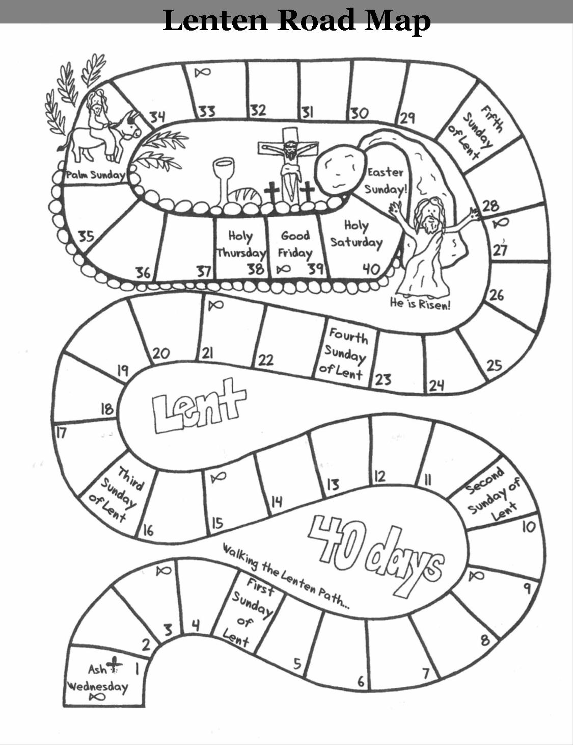 Roadmap Through Lent Kids Calendar 40 Days Of Lent Catholic Lent