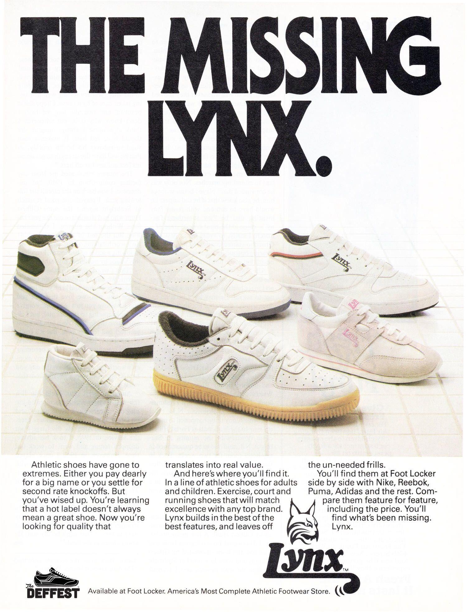 Foot Locker Lynx vintage sneaker ad