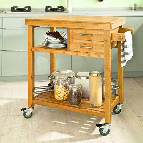 So Bamboo Kitchen Trolley Cart Storage Servin Https