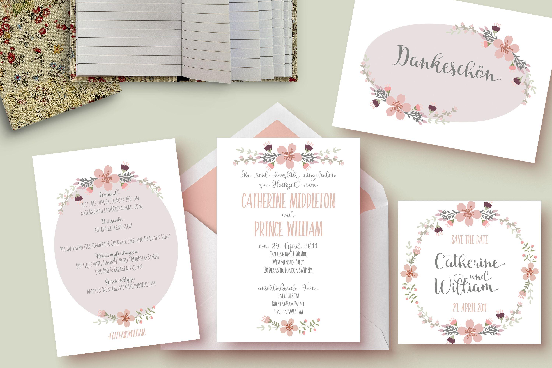 """Hochzeitseinladungsset """"Peachy Flowers"""" von The Happy Paper Box"""