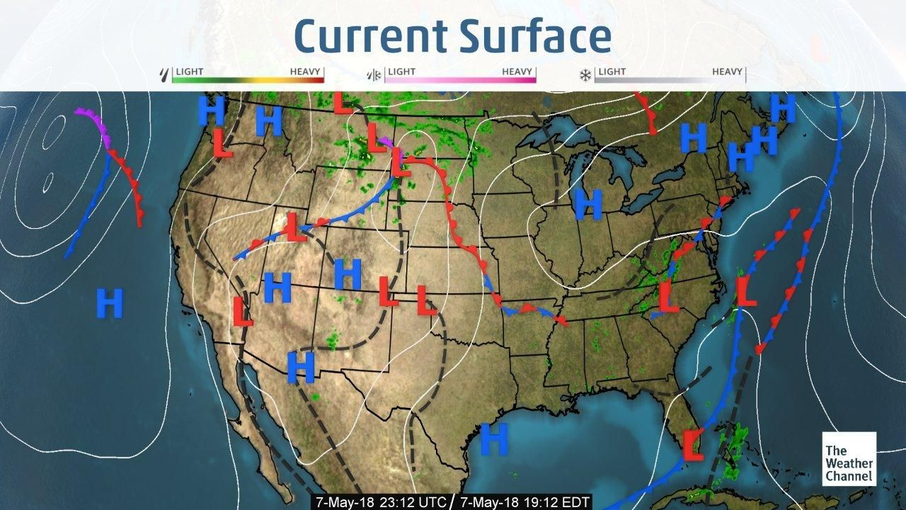 Us Weather Map Current Current US Surface Weather Map | Weather map, The weather channel