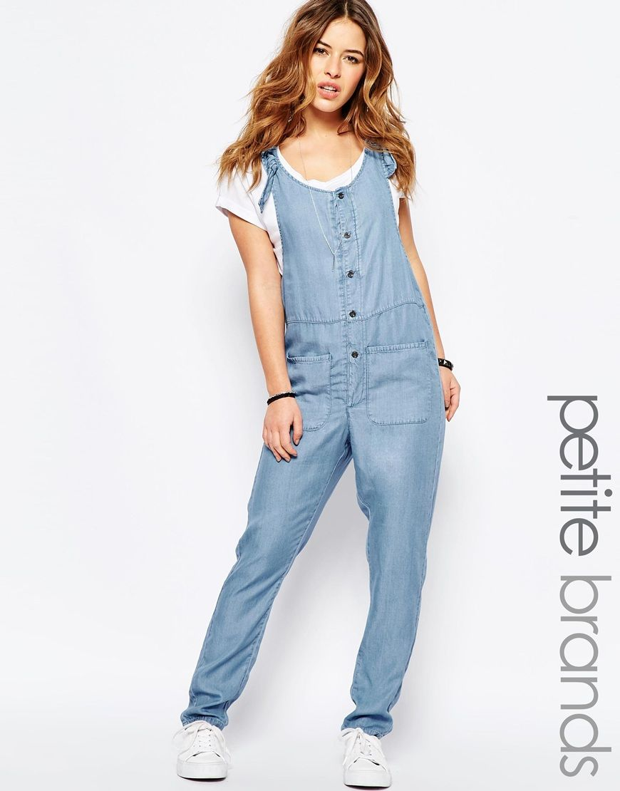 516728af9b19 Noisy May Petite Chambray Button Through Jumpsuit