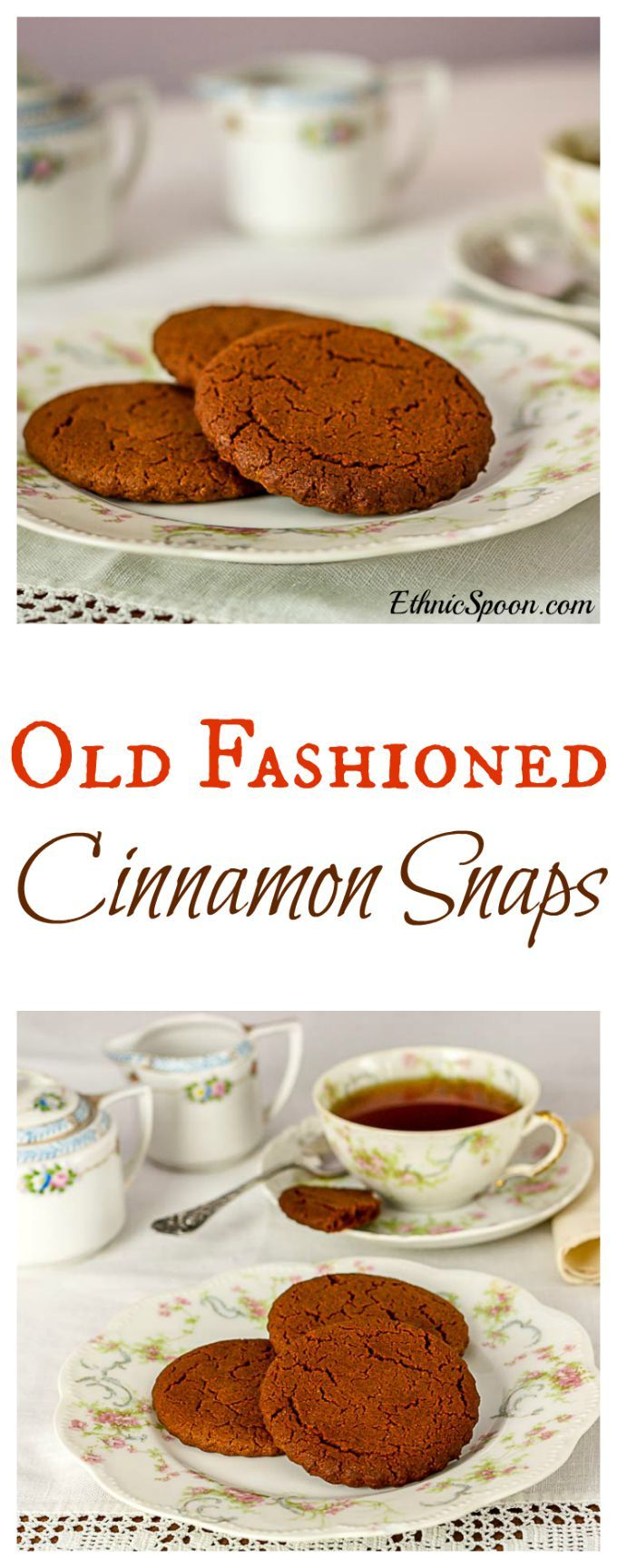 A 100+ year old family recipe for cinnamon snaps. A really nice crunchy cookie recipe!  ethnicspoon.com