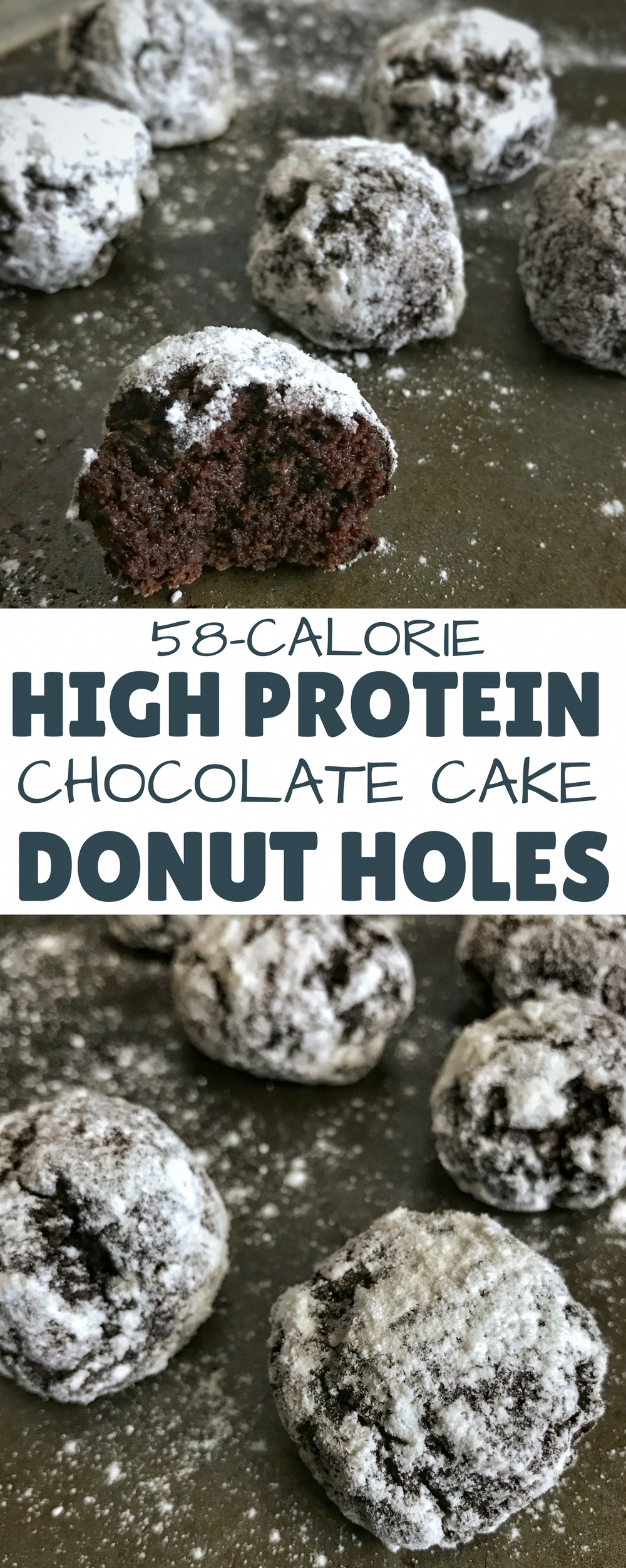 You'll never eat regular donut holes again after you try these chocolate cake protein donut holes with 5.5 grams of protein and only 58 calories per donut hole. They're the perfect fix for a sweet tooth or chocolate craving. via @masonfitdotcom #AmazingKetoRecipes #proteindonuts