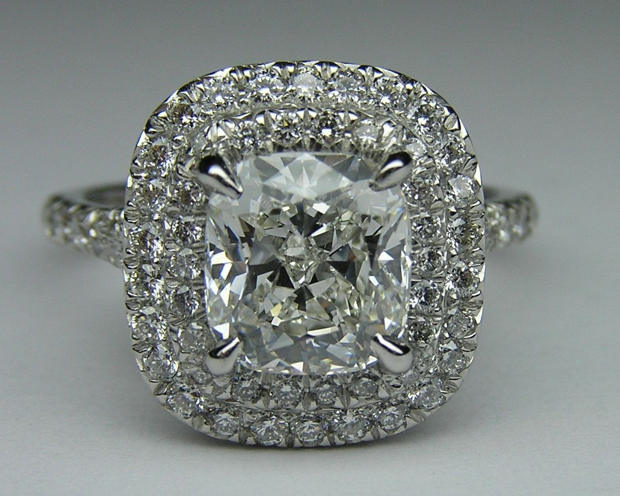 Cushion diamond double halo pave engagement ring in 14k