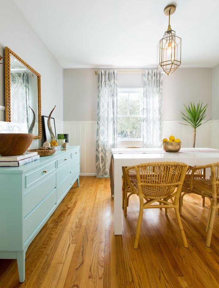 Modern Bohemian Dining Room Featuring White Beadboard