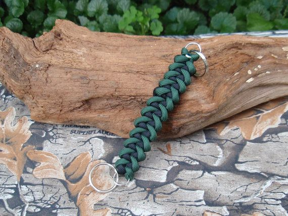 Paracord Lanyard Keychain  Green and Black Shark by ACORDING2MACEY
