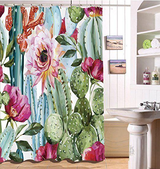 Cactus Flower Shower Curtain Ad Cactus Cactusmania Cacti