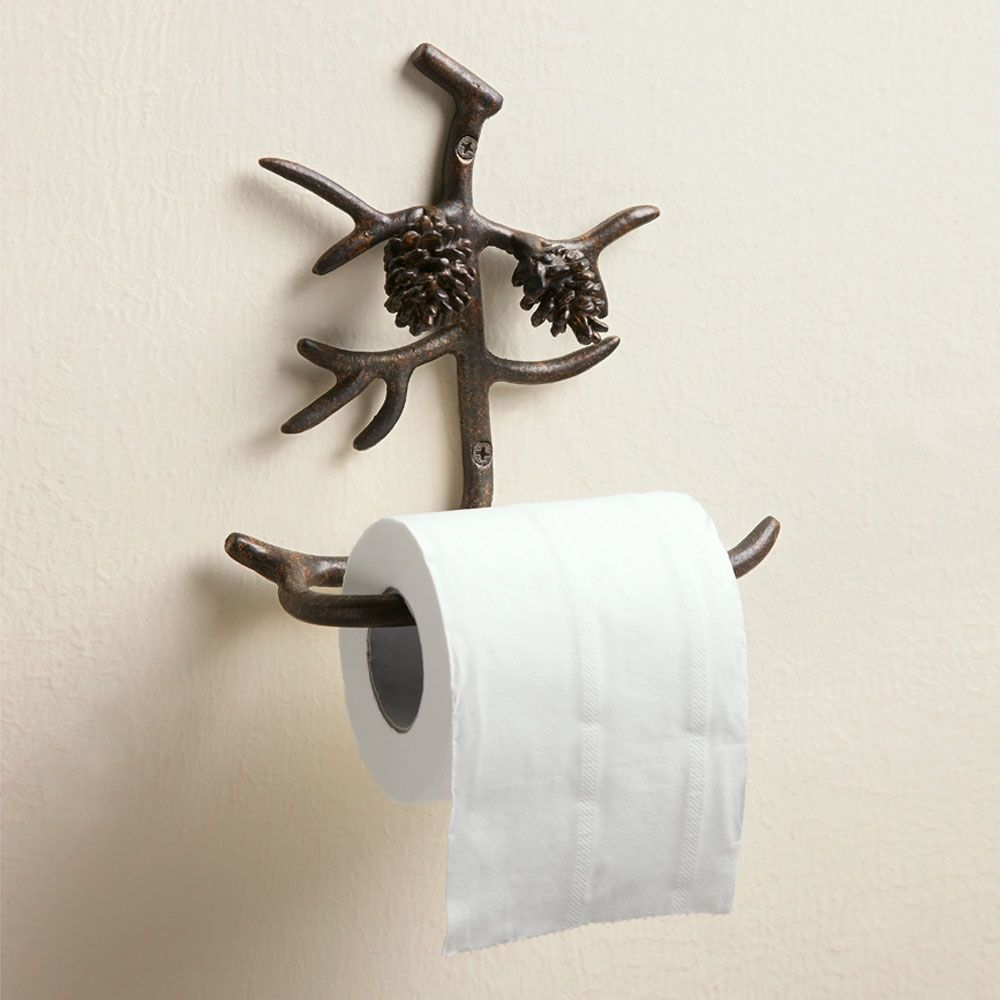 7 5 pine cone toilet paper holder made by rustic lodge - Bathroom towel and toilet paper holders ...