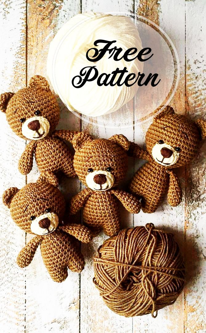 Awesome Free Crochet Teddy Amigurumi Bear Pattern #crochetbearpatterns