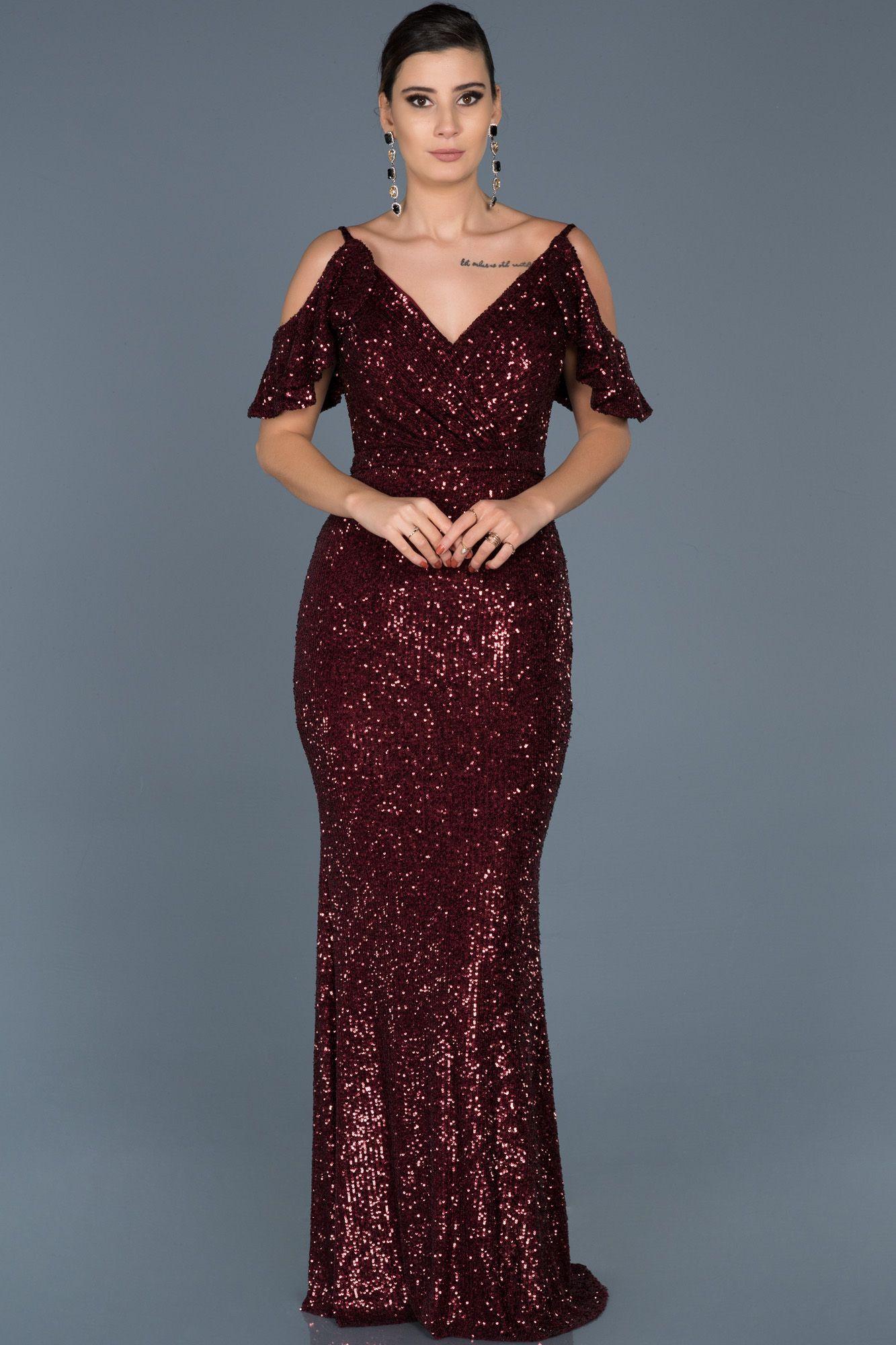 Bordo Payetli V Yaka Abiye Abu552 Aksamustu Giysileri The Dress Uzun Mezuniyet Balosu Elbiseleri