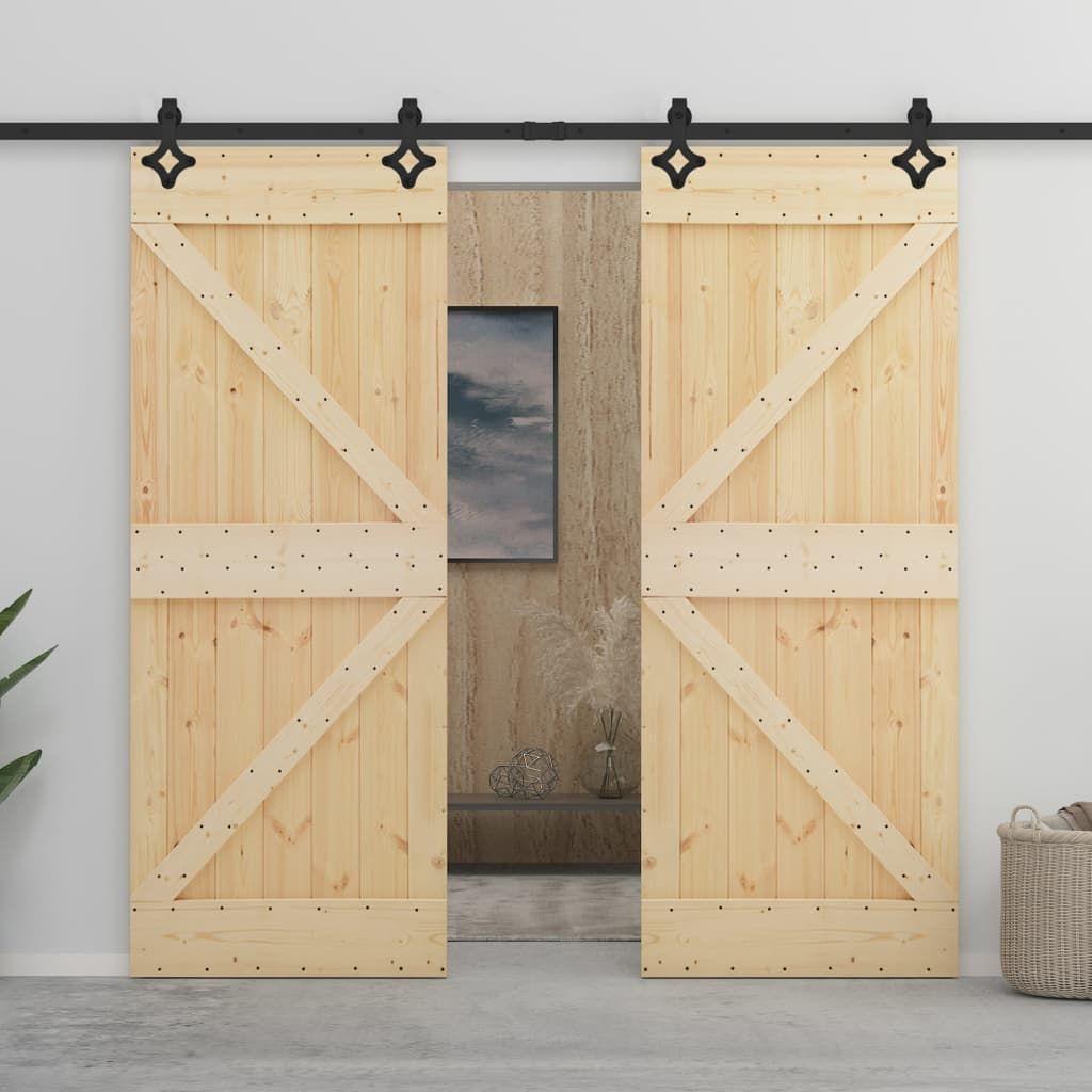 vidaXL Sliding Door with Hardware 100×210 cm Solid Wood …