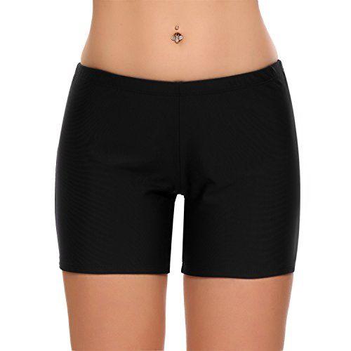 9de034198a4 Ekouaer Ekouaer Tankini Swim Bikini Bottom Womens Solid Color Broad Swim  Sport Shorts(FBA)