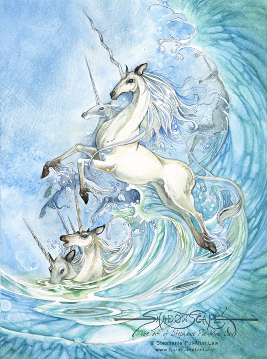 fantastic unicorns | Fantasy Art Unicorns Art print - unicorn waves by