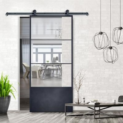 Colonial Elegance 37in X84in X3 In Concorde Epoxy Coated Steel Frame W Clear Tempered Glass In 2020 Glass Barn Doors Interior Sliding Doors Interior Glass Barn Doors