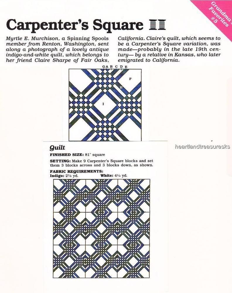 Carpenter\'s Square Quilt Pattern Leaflet w Flexible Templates | eBay ...