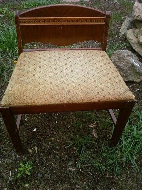 1940 S Art Deco Waterfall Vanity Stool Paint And Fabric Included