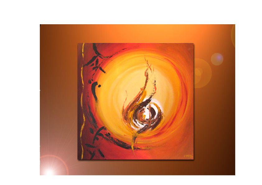 Tableau contemporain, du0027inspiration aziatique, en peinture acrylique