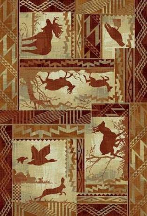 4 X 6 Country Theme Wildlife Moose Deer Elk Bird Lodge Cabin Area Rug Rustic Area Rugs Area Rugs Entry Rug