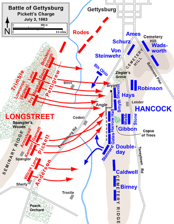 Map Of Picketts Charge Battle Of Gettysburg July - Battle of gettysburg us map