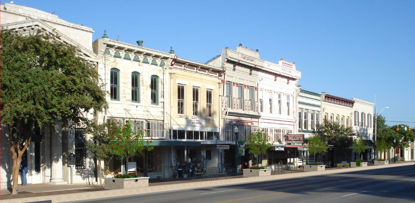historical city streetscape Austin Avenue Lane Closure
