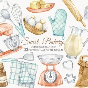 Watercolor pastry sweets dessert wreaths clipart Bakery logo frame Confectionery cupcake wreaths logo withs flowers and desserts