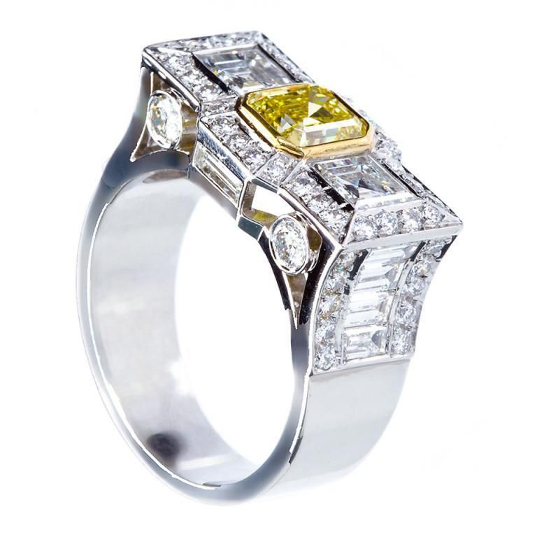 0.87 Carat Fancy Intense Yellow Emerald-cut Diamond Platinum Ring GIA  #TMWJewelsCo #ArtDecoRing #ArtDecoEngagementRing #VintageRings