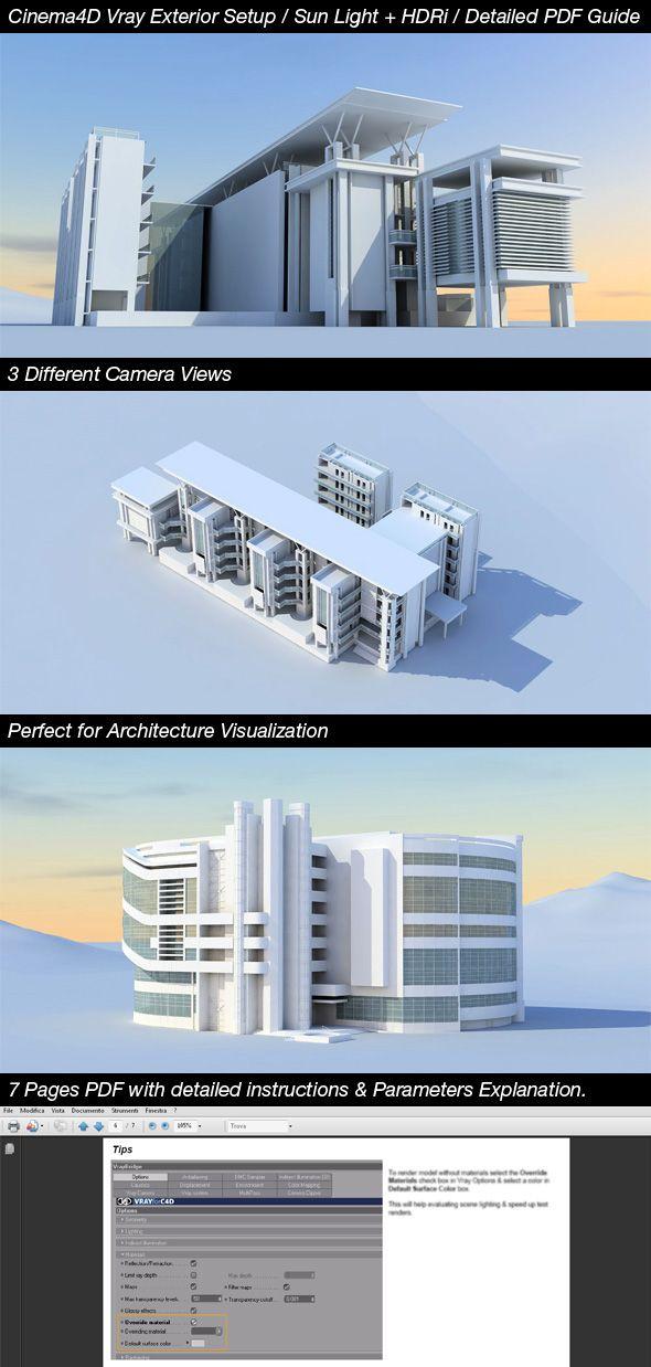 Exterior Setup for Vray for Cinema4D, Sun light + HDRi