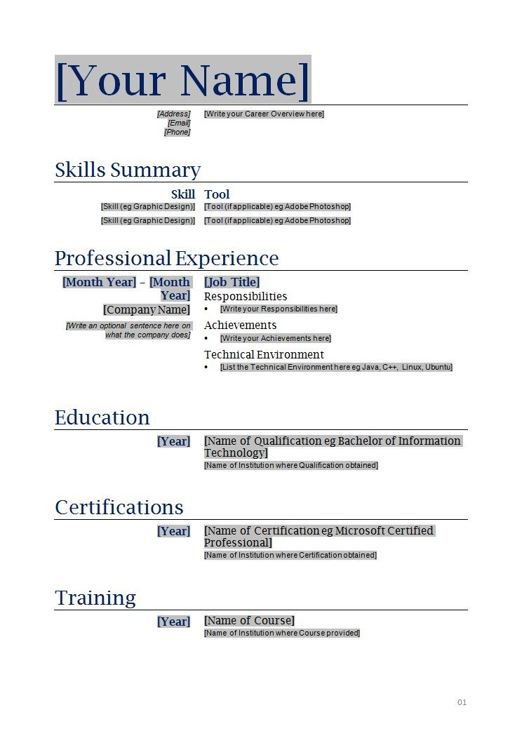 copy of a blank resume