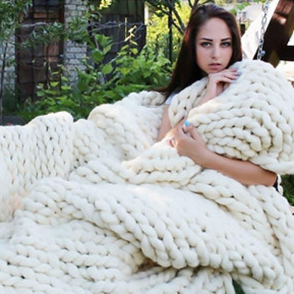 Hot! 5 Pure Kleuren Wol dikke Lijn Gebreide Deken 100% Natuurlijke Antipilling Gebruikt in Bed Sofa Vliegtuig Cobertor Deken Super Zachte!
