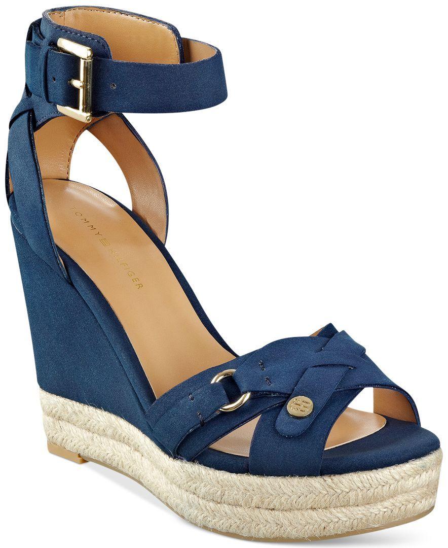 e3581a9eeca Tommy Hilfiger Velvet Espadrille Platform Wedge Sandals