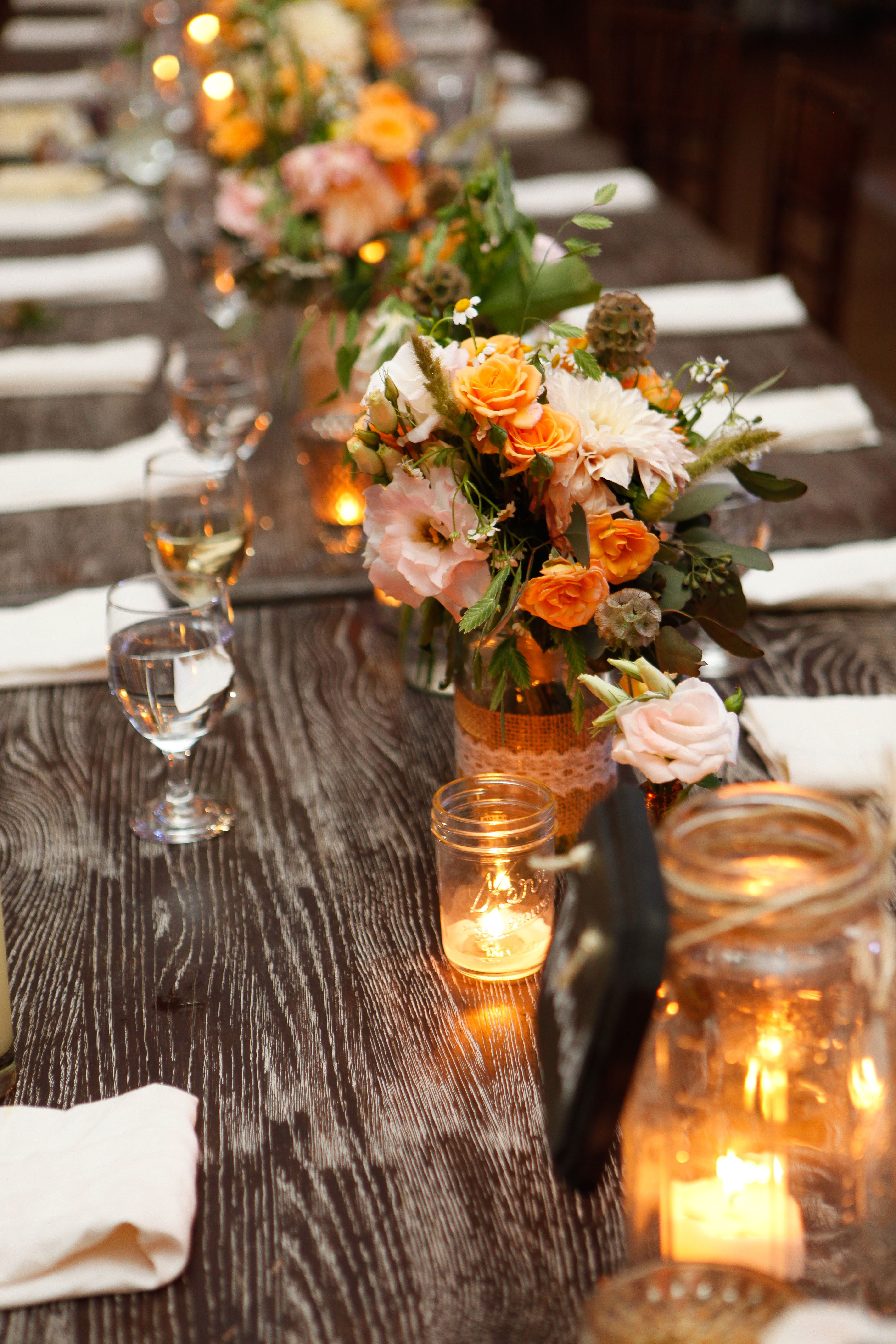 Farmhouse-Table-Wedding-Reception-Centerpiece-Ideas ... |Farmhouse Table Wedding Reception