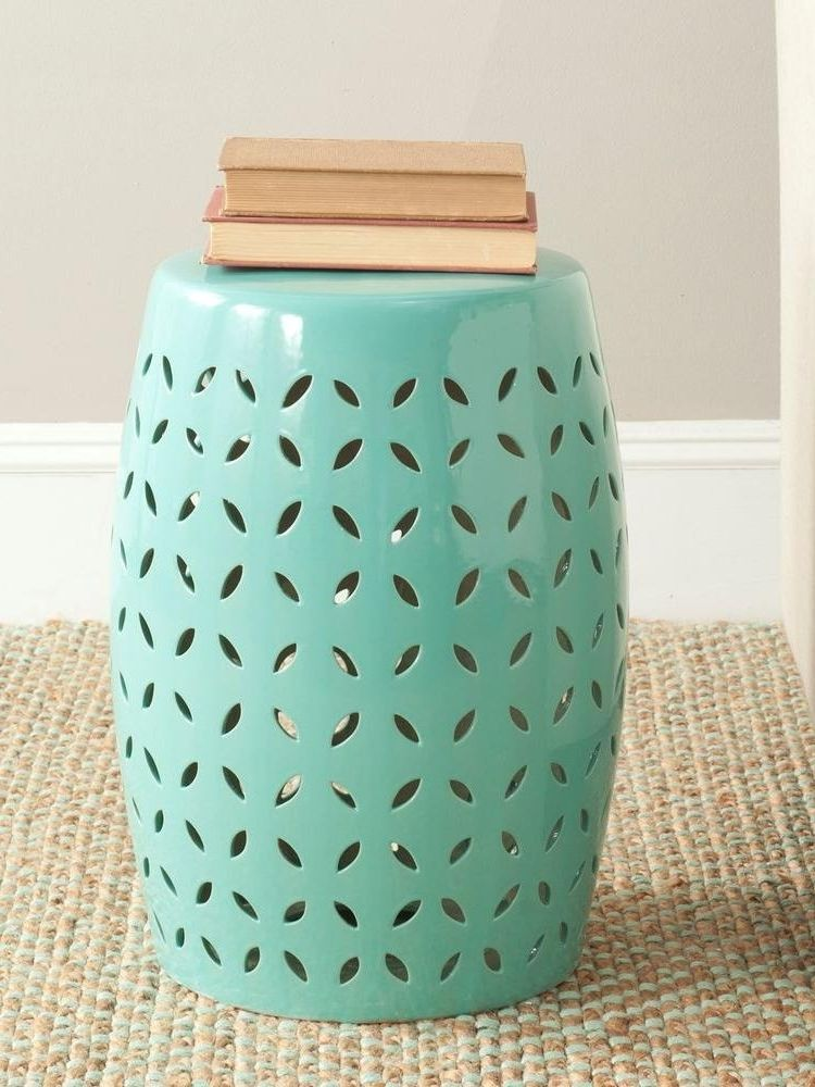 Embellished With A Lattice Pattern Of Stylized Flower Petal Cut Outs, This  Ceramic Garden Stool Is Finished With A Robinu0027s Egg Blue Glaze.