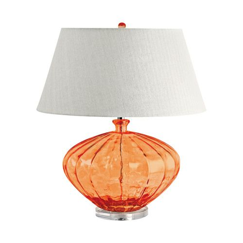 A Wonderful Pop Of Sunset Orange Color Is Presented In This Large 25 Tall Fluted Urn Glass Table Lamp Created With Glass Table Lamp Tropical Lamp Table Lamp