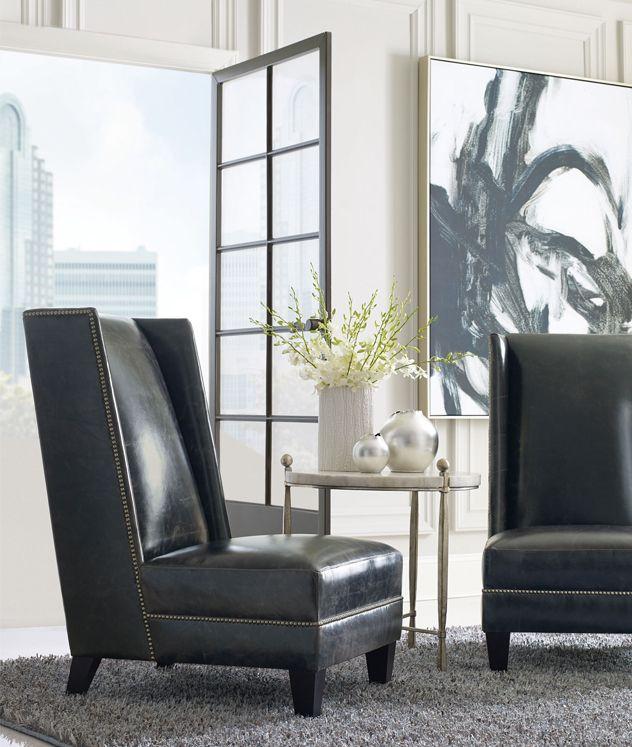 Bernhardt | Driscoll Chair In Black Leather And Antique Nickel Nailhead  Trim. Clarion Round Chairside