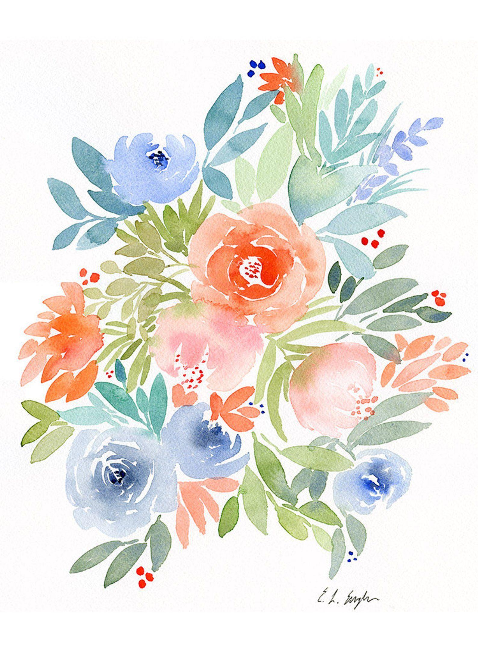 Fleurs De Peinture Fleurs Aquarelle Originales Printemps Etsy
