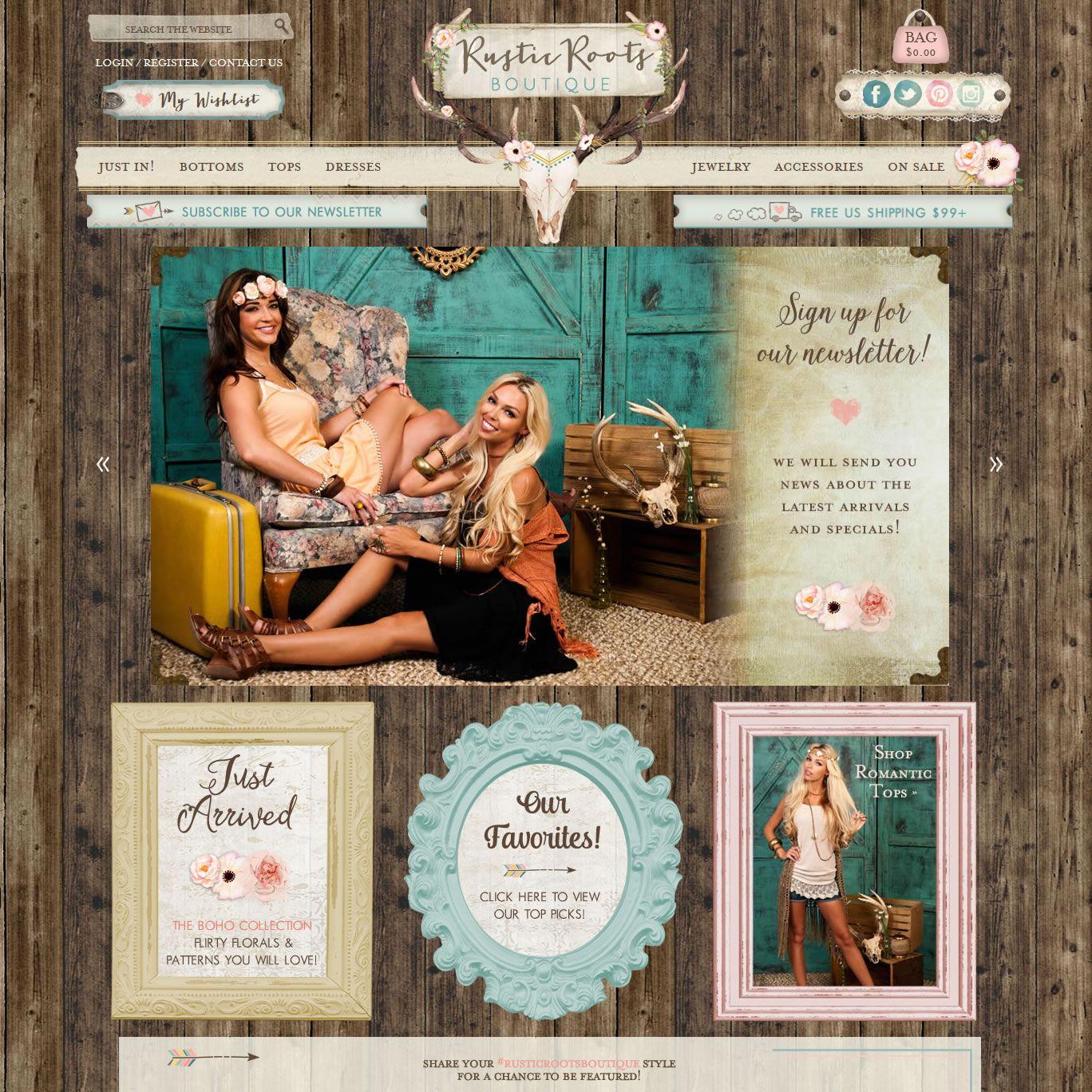 Bohemian Web Design | Custom Vintage Style Fashion Website ...